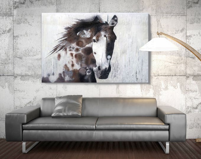 "Brown Gorgeous Horse. Extra Large Brown Rustic Farm House Original Oil on Unstretched Canvas Horse Painting 48 x 72"" by Irena Orlov"