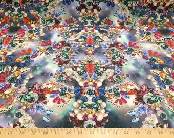 """Jewels Gems Clusters Print 4 way stretch poly nylon fabric 58"""" wide sold by the yard"""