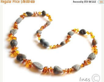 CHRISTMAS SALE Raw Unpolished Black and Polished Red Baltic Amber Necklace