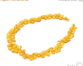 CHRISTMAS SALE Baltic Amber Honey Necklace Made of Amber Leaves