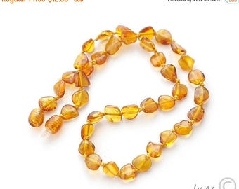 CHRISTMAS SALE Baltic Amber Baby Teething Necklace, Genuine Baltic Amber Cognac Beads