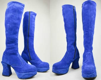90s Does 70s Electric Blue Suede Curvy Heel Knee High Platform Boots UK 4 / US 6.5 / EU 37
