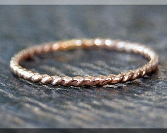 Thin Rose Gold Filled Twisted Ring, 14k gold filled stacking ring, Rope Stacking Ring, Twist texture ring, Dainty Rose Gold stacking ring