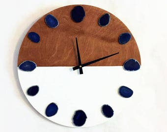 Silent Wall Clock, Blue Agate Slices, Wood Wall Clocks, Home and Living, Home Decor, Decor and Housewares