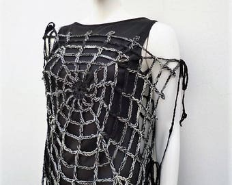Gothic Fashion Black Gray Spiderweb Top Crochet Web's Mittens One Size Women's Vest Black Widow Goth Halloween Costume