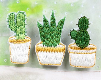 3 cactus iron on appliques, sewing accessories, succulent plants iron on applique, sewing embellishment, embroidered cactus