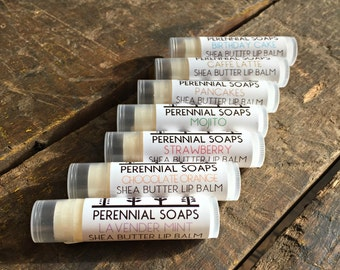 Lip Balm Tube - Vegan Lip Balm with Shea Butter  - 9 Flavors! - Pink Lemonade - Mojito - Lavender Mint - Naked