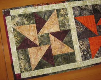 Quilted Table Runner, Autumn Fall Batiks Double Star #1
