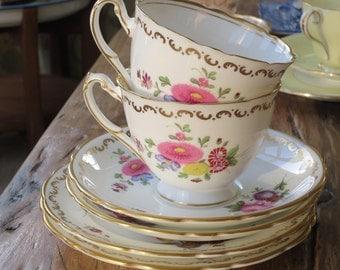 Royal Cauldon vintage china tea cup trio