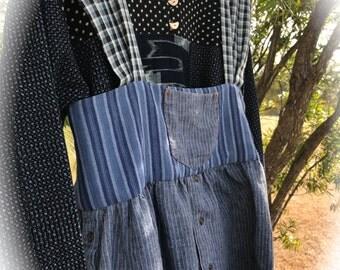 Izzy Roo Indigo  Ethnic Tribal Gypsy Jumper Top Mixed Linen N' Cotton Prairie Boho Size XL