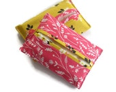 2 x Paper Hankerchief Holders - Cotton Fabric Cover for Paper Tissues -Kleenex Cover Case
