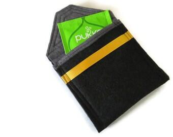 Black Felt Tea Bag Holder - Travel Case for Tea Bags - Felt Tea Bag Pouch - Handbag Tea Bag Pouch