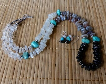 29 Inch Southwestern Four Color Freeform Rondelle Shell Heishi, and Turquoise Nugget Necklace wit Earrings