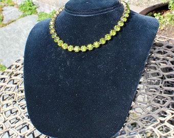Rare Vintage 1930's Green Austrian Crystal Art Deco Brass Necklace