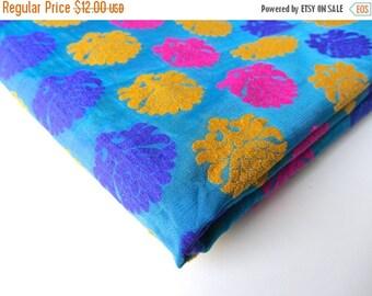 ON SALE Blue Pink yellow neon flower on blue India silk brocade fabric nr 206 fat quarter