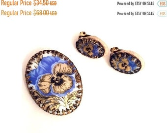 Pansy Flower Brooch with Earrings, Porcelain Germany, Vintage Jewelry Set, CHRISTMAS SALE