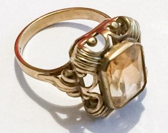 Art Deco Ring, Citrine Ring, 8K Gold, Alternative Engagement Vintage Jewelry, VALENTINE SALE
