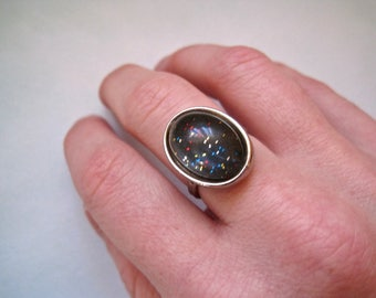 90s Glitter Ring, Adjustable Ring in Silver Tone, Club Kid, 90s does 60s, Space Age