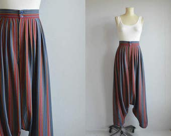 Vintage Calvin Klein Harem Pants / 1970s High Waist Striped Silk Designer Pants