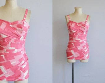Vintage 1950s Swimsuit / 50s Perfection Fit by Roxanne Pink Print One Piece Wrap Sarong Bathing Swim Suit Playsuit