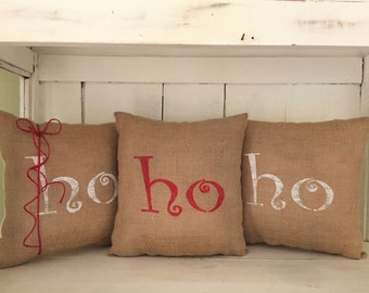 Rustic Christmas, ready to ship, christmas pillows, burlap pillows, decorative pillows, farmhouse