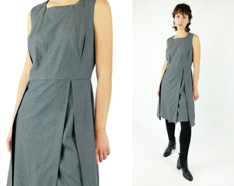 CELINE Minimalist Architectural Grey Wool Dress