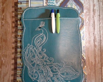Bookmark Planner Band, Pen holder, Planner accessory, bookmark - Peacock