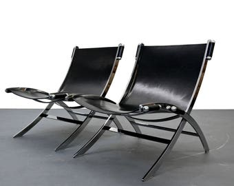 Pair of Mid Century Italian Chrome and Leather Sling Scissor Chairs