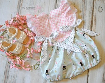 """Easter Sunday Dress - Girls Easter Outfit - Easter Bubble Romper - Bunny Dress - First Easter Outfit - Easter Bunny Romper - """"Bunny Love"""""""