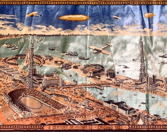 Vintage 1933 Chicago A Century of Progress Worlds Fair tapestry rug wall hanging velvet fabric 30s era textile