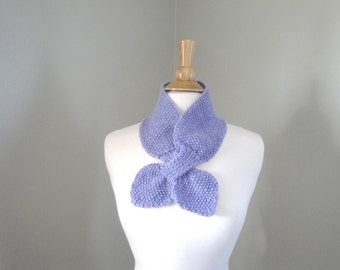 Knitted Ascot Scarf, Lavender Purple, Soft Wool, Bow Neck Office Scarf, Small Cute Chic