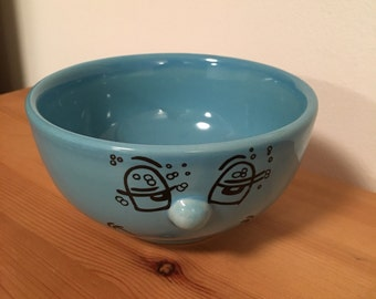 Vintage Silly Face Cereal Bowl Ceramic 3D Raised Nose Woozy Hangover Face Livingware Collection 2