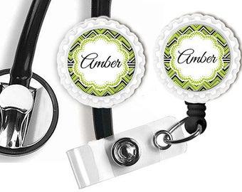 Personalized Stethoscope ID Tag Badge Reel Name Tag,  Nurse, Doctor ,Medical,  Nursing Home Nurse, Employee Badge Reel
