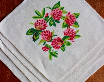 Vintage Linen Napkins Cocktail Printed Small Raspberry Pink Green White 4