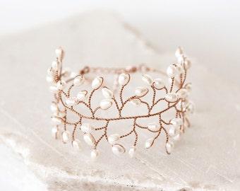 61_Natural pearl bracelet ivory, Bracelet wire, Bridal gold bracelet, Wedding beautiful bracelet, Natural white bracelet, Bridal jewelry