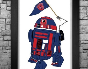 """R2-D2 """"Chicago Cubs"""" inspired limited edition art print. Available in 3 sizes!"""