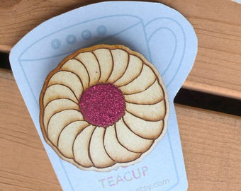 Biscuit Wooden Brooch- laser cut jewellery hand painted for tea lovers and biscuit dunkers. Jammy glitter badge