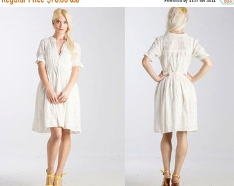50% OFF ENTIRE STORE Vintage White 50s look Eyelet Lace Button front Shirt Dress // Full Skirt