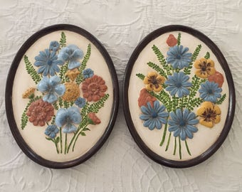 Vintage 1970's/1980's pair of ceramic wall plaques blue and gold florals, oval