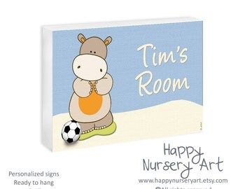 Boys Sports Nursery Decor Personalized Door Sign Newborn Gift Custom Name Soccer Ball Hippo Safari animals Nursery Art Name Display Hanger