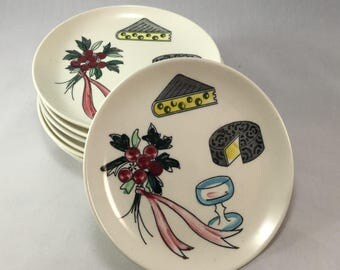 "Set of Eight Vintage Nasco Appetizer Plates,Cheese and Crackers,6.25"" Plates"