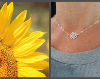 Choker, Sterling Silver, Sunflower Choker Necklace, Layering Jewelry,Gift for Best Friend,Dainty Necklace, Sister Jewelry,Minimalist Jewelry