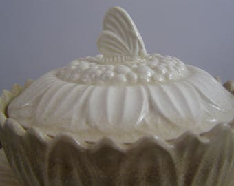 Whimsy Embossed Sunflower Ironstone Bowl/Plate with Butterfly on Lid. Striking embossed sunflower petals. Butter Dish.