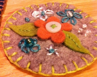 Felted Wool Pin Adorned with Colorful Flowers, Beads, Button and Embroidery-Brooch Pin/Scarf Pin/Hat Pin