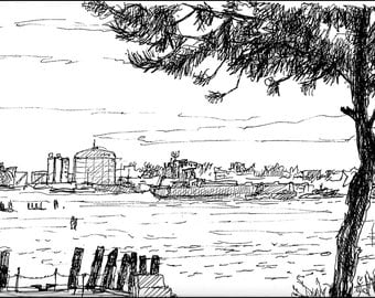 Industrial drawing Providence Rhode Island 8.5x11 giclee art print of pen and ink & Architecture