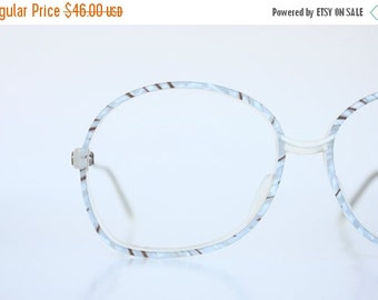 ON SALE Vintage 80's Oversized Italian Ice Blue Eyeglasses Frames