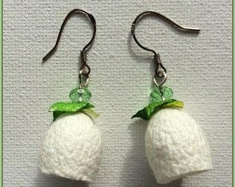 Earrings - White Flowers - sterling silver hooks - silk cocoons jewelry - white, green - green Czech crystals - handmade - snowdrops - OOAK