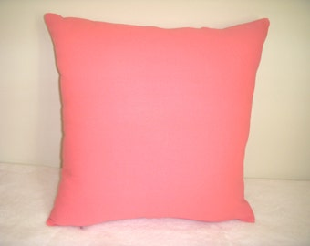 Pink Pillow Cover Solid Rose Coral Shabby Chic Country Farmhouse Romantic Prairie Cottage French English