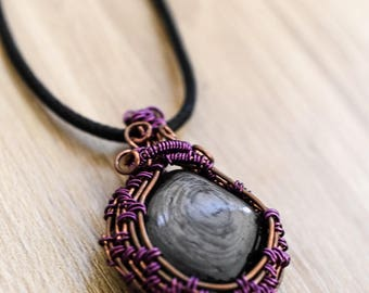Steampunk Handmade Copper Wire Wrapped Crystal Pendant Natural Burning Man Necklace.