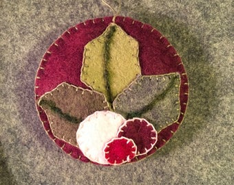 Lovely Holly And Berries Applique On Burgundy Felt Christmas Ornament